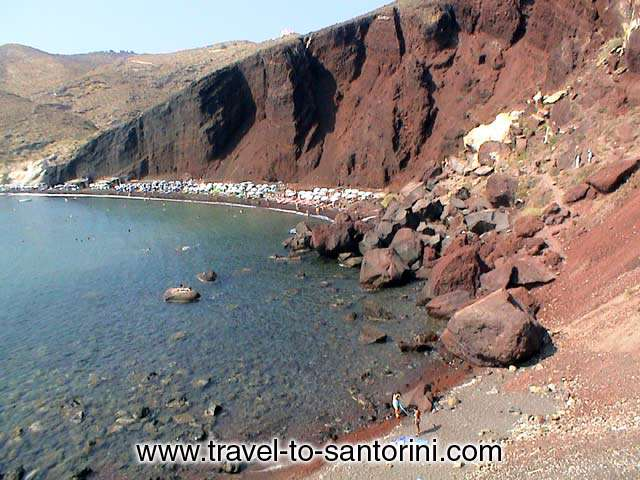 RED BEACH - View of Red beach from the pathway that leads to the beach from Akrotiri