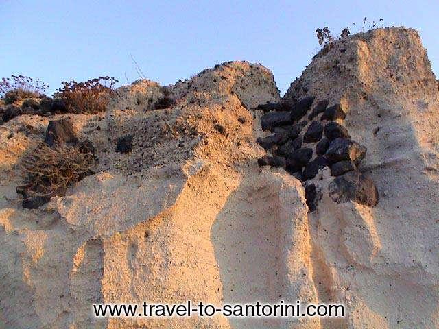PUMICE STONE - A pumice stone wall in Akrotiri area