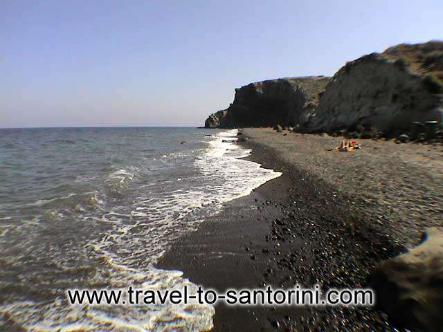 ON THE BEACH - Panoramic view of Kouloumbo beach, one of the last untouched spots from tourism in Santorini