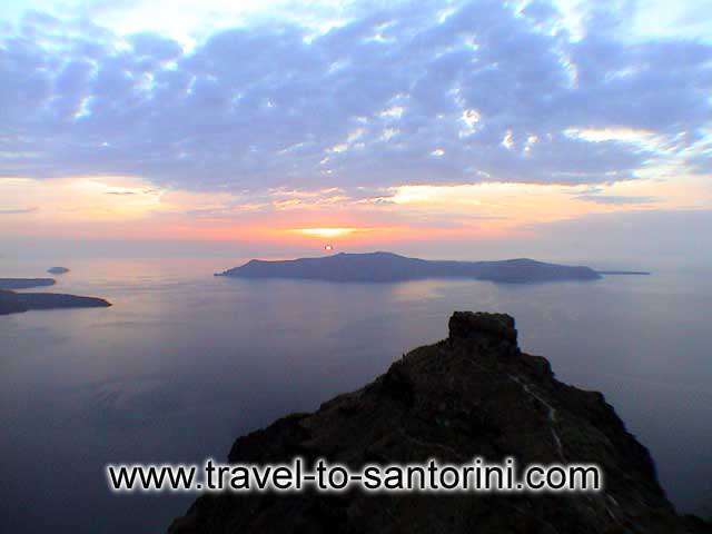 Skaros in Imerovigli and a beautiful sunset in October from Agios Ioannis church SANTORINI PHOTO GALLERY - SUNSET