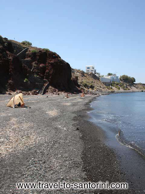 THE BEACH - View of Pori beach in the area of Imerovigli in Santorini. Picture taken from the right part of the beach.