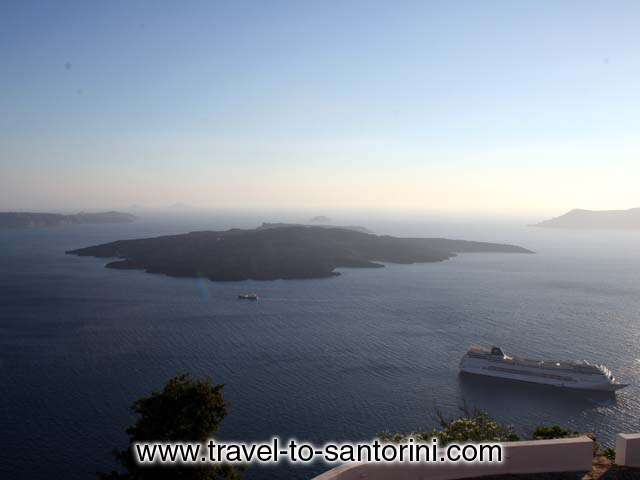 VOLCANO VIEW - View of Nea Kammeni island (the volcano) from Nomikos Foundation building in Fira