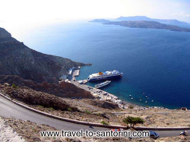 VIEW FROM ABOVE - View of Athinios port from the road that zig-zags up the caldera to Santorini