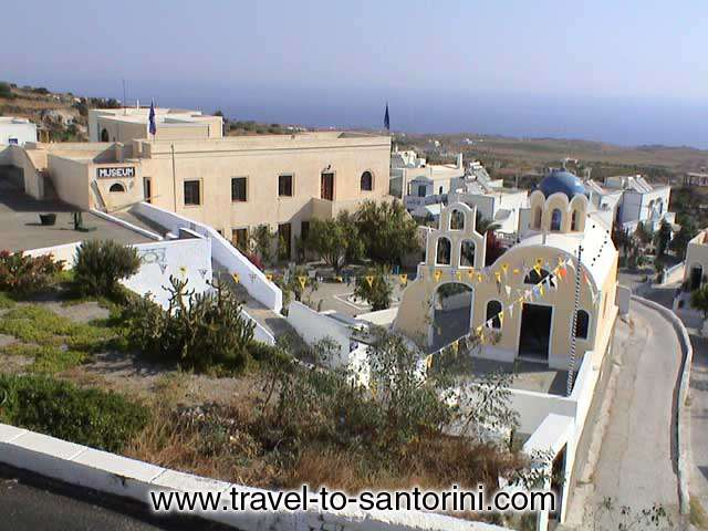FOLKLORE MUSEUM THIRA - View of the yard, the church and the main building of Fira Foklore Museum of Santorini
