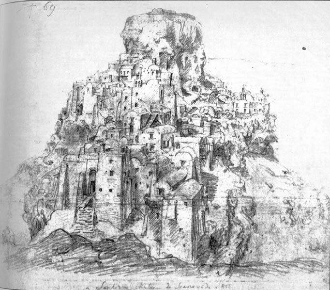 Skaros castle by Thomas Hope - The design of the collection of Thomas Hope (Benaki Museum). by Thomas Hope