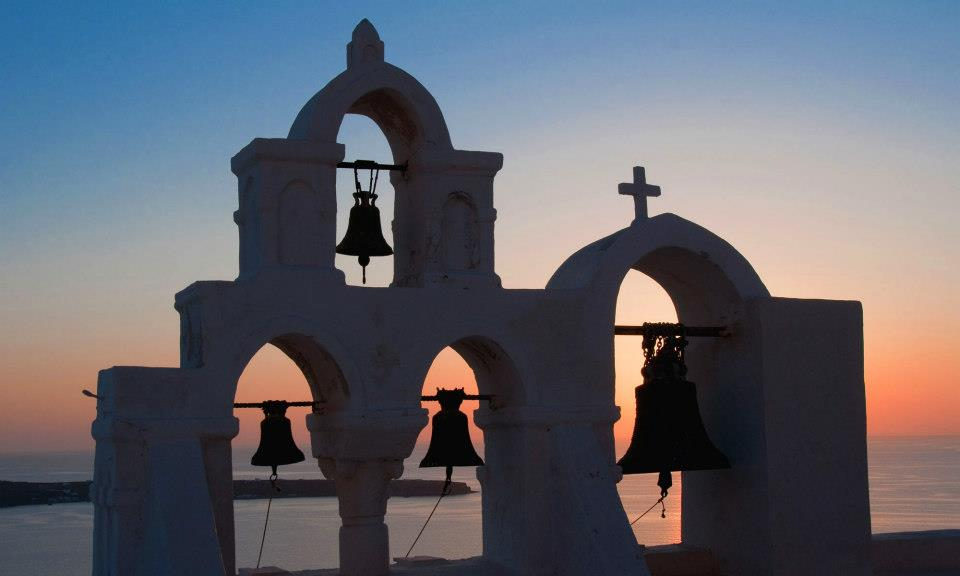 Church bell - Church bell at sunset in Oia Santorini
