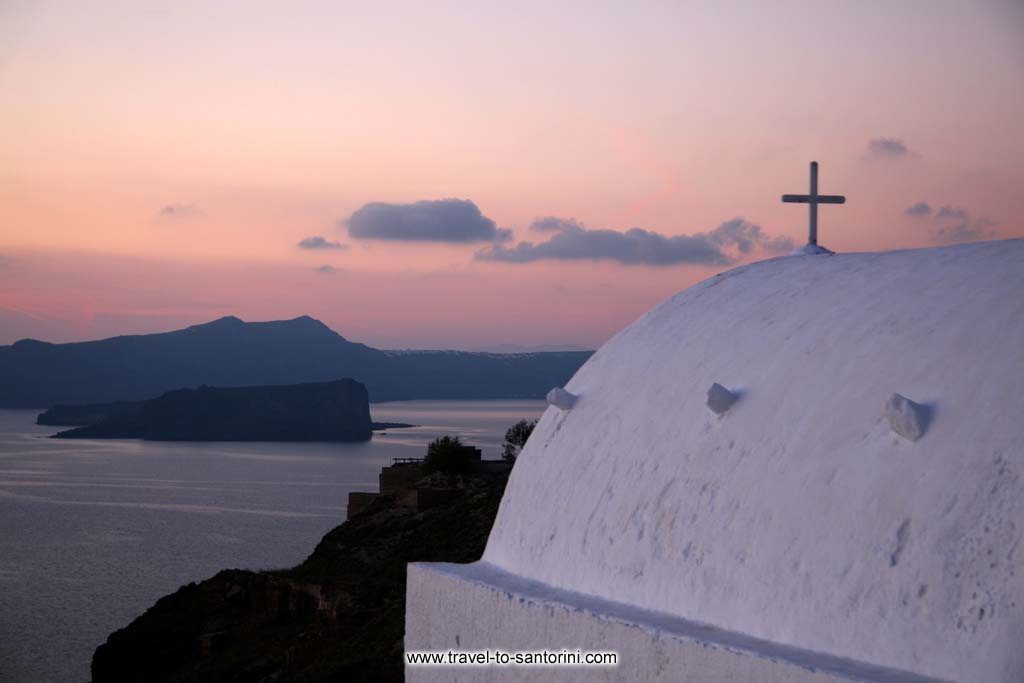 Taxiarchis church - View of Palia Kameni and Thirassia from Taxiarchis church in Megalochori Santorini
