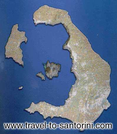 SATELLITE IMAGE - Satellite image of Santorini island