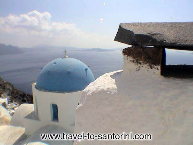 View of Anastasis church in Oia, a masterpiece of architecture.<br>