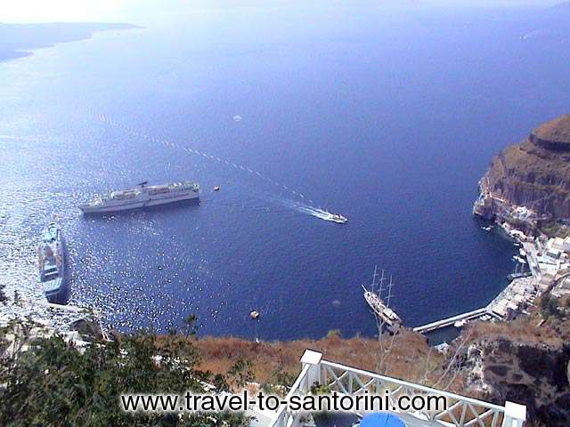 GIALOS VIEW - View of Gialos, the old port of Fira where all cruise ships arrive from Agios Minas church in Fira.