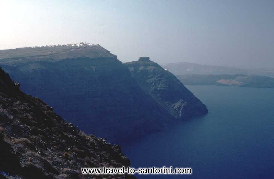 IMEROVIGLI AND SKAROS - View of Imerovigli, Skaros and the volcano from Mikros Profitis Ilias (the second highest spot in Santorini).