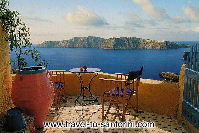 View of Thirassia from the small yard of a traditonal Santorini house in Oia. SANTORINI PHOTO GALLERY - THIRASSIA VIEW FROM OIA