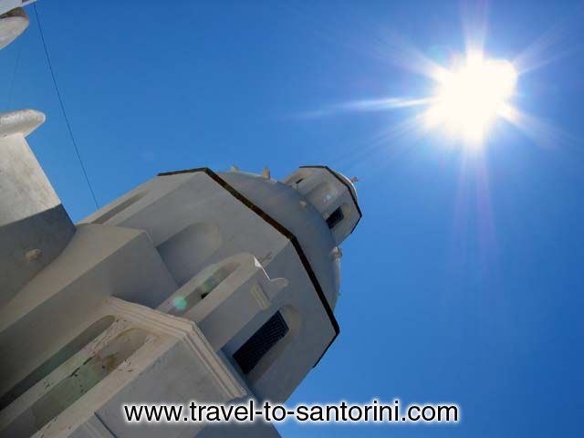 SUN CHURCH GREECE - Agios Minas church in Fira Santorini at noon. These are the colours of Greece!