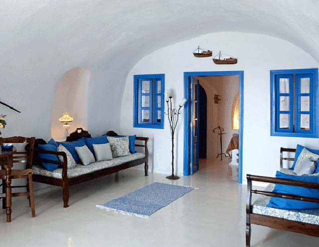 Peched on the edge of a cliff at the village of Oia, the hotel is an oasis of senerity and relaxation CLICK TO ENLARGE