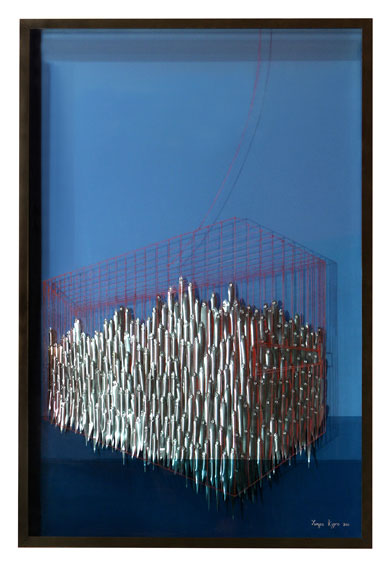 Seascape - Aluminum sheets, wire, wood, paint - 126x80x20 cm CLICK TO ENLARGE