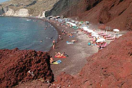 Red beach ranked as the 7th best beach in the world: Santorini Red Beach is one of the most picturesque locations on the list. Surrounded by soaring red lava cliffs (hence the name), this beach also has some of the most beautiful and unique red sand in the world. The beach is only access...