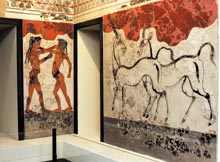 The National Archaeological Museum in Athens put back on display a priceless collection of Minoan frescoes (photo), as well as other artifacts, from the island of Santorini yesterday. The public had not been able to view the antiquities since 1999 when the 19th century building was badly damaged in ...