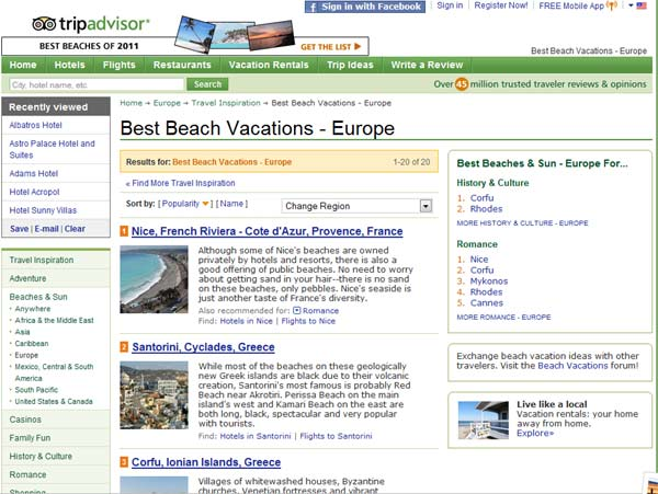 Good news from Tripadvisor, where Santorini is ranked second in Europe best beaches proposals. While most of the beaches on these geologically new Greek islands are black due to their volcanic creation, Santorini most famous is probably Red Beach near Akrotiri. Perissa Beach on the main ...