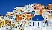 Santorini nominated the best view Greek island according to Guardian newspaper. The ancient island of Thira exploded in 1500BC, leaving a broken rim of a now-extinct volcano. The town of Fira sits on the top of the rim looking west, with an almost sheer drop of 250m to a very deep blue s...