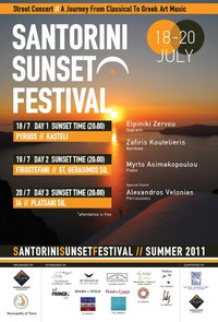 With great joy the Municipality of Thira and Kisiris Events welcomes you to a series of cultural events entitled SANTORINI SUNSET FESTIVAL. This is an idea that aims to bring visitors into contact with the art against the magnificent sunset. The aim is to combine the glory of...